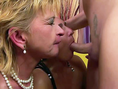 Two old whores blow and lick one horny young dude
