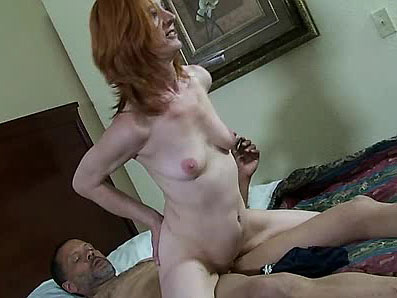 Skinny granny rides dude's cock and drinks his cum