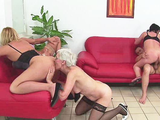 Four old whores fuck a young dude and each other